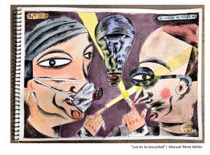 """""""Luz en la oscuridad"""" de Manuel Pérez Báñez. Plumilla, tinta y acuarela/papel 21,5 x 27,9 cm."""